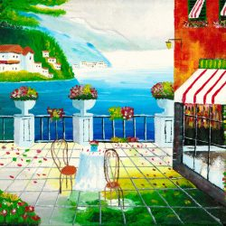 Cafe in Taormina, Sicily, Italy - Acrylic Painting by Brian Sloan