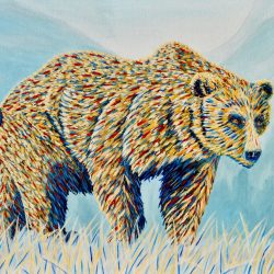 Colourful Grizzly Bear Acrylic Painting by the Canadian artist Brian Sloan