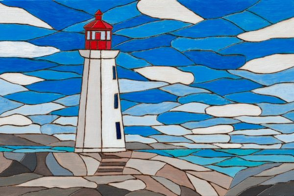 Original Mixed Media artwork of the lighthouse in Peggy's Cove, Nova Scotia by the Canadian artist Brian Sloan