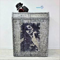 Black and white textured cabinet armoire