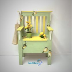 Refinished Yellow and green lemon storage bench