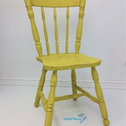 Refinished Yellow Wooden dining chair